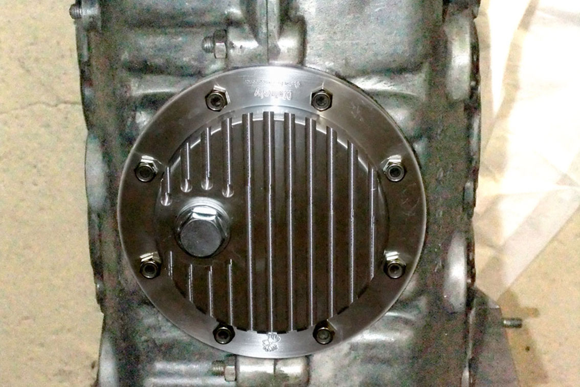 911 'Turbo' Sump Plate w/ Drain Plug: Installed view