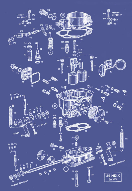 This is the clearest image we have found detailing the various Zenith NDIX parts. It is applicable to both 32mm and 36mm carburetors.