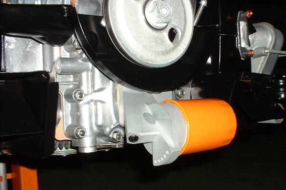 Full Flow Oil Filter Adapter - Pressure-Relief: Installed view